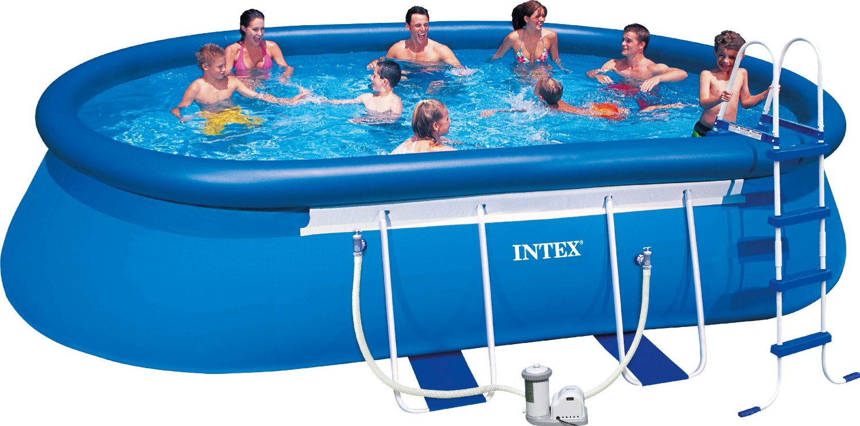 28192 Овальный надувной бассейн на опорах  Intex, 549х305х107см, фильтр-насос картр 3785 л/ч