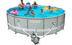 28324 Каркасный бассейн круглый  Intex, 488х122см, фильтр-насос песчанный 4542 л/ч
