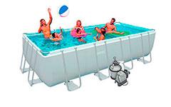 28352 Каркасный бассейн прямоугольный Intex, 549х274х132см, фильтр-насос песчанный 4500 л/ч