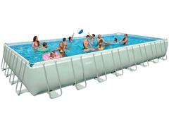 28376 Каркасный бассейн прямоугольный Intex, 975х488х132см, хлоратор+фильтр-насос песчанный 10000 л/ч