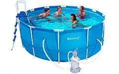 56259 Каркасный бассейн круглый  BestWay, 366х122см, фильтр-насос песчанный 2006 л/ч (56414, 56088)