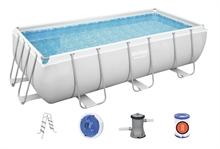 56441 Каркасный бассейн прямоугольный BestWay, 404х201х100см, фильтр-насос картр 2006 л/ч (28316, 28350)
