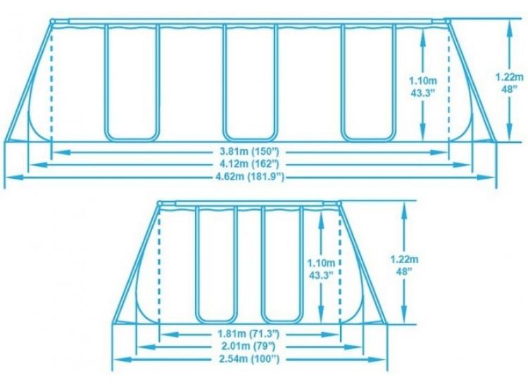 56456 Каркасный бассейн прямоугольный BestWay, 412х201х122см, фильтр-насос картр 2006 л/ч