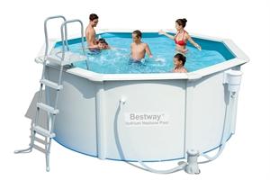56571 Каркасный бассейн круглый со стальными стенками BestWay, 360х120см, фильтр-насос картр 2006 л/ч (56384)